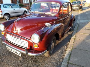 Morris Minor 1971 - classic car in the Spring sunshine