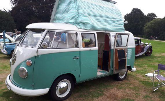 Beautiful aqua VW Campervan at the Stanford VW