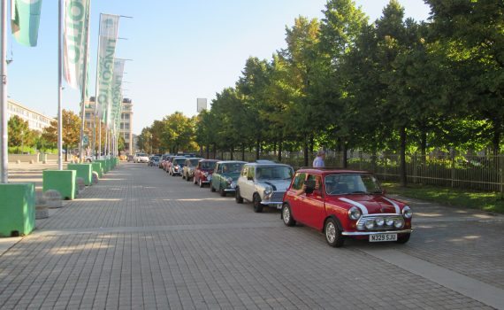Classic Minis in a line