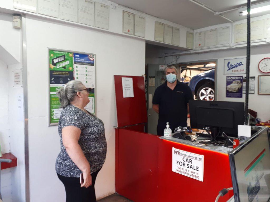 Covid-19 safety processes at the VFR Motors Leicester garage